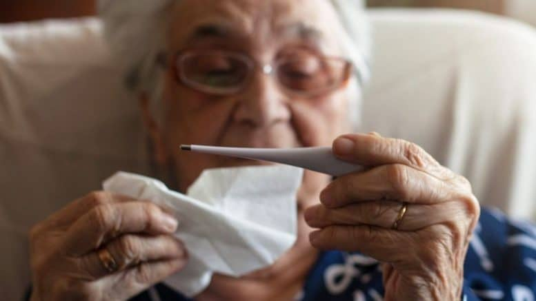 Elderly being sick